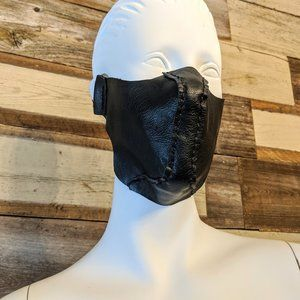 Hand Crafted Accessories - Black Leather Hand Stitched Face Mask NWT